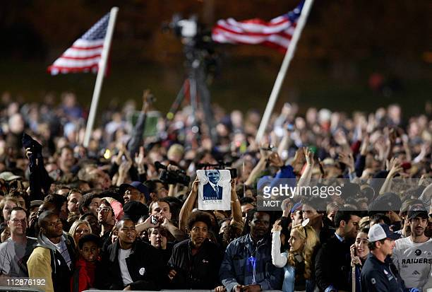 People crowd into the Obama Election Night Rally at Grant Park in Chicago Illinois Tuesday night November 4 2008