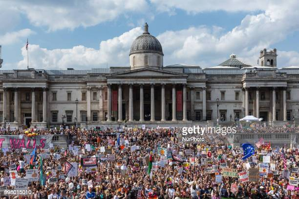People crowd on Trafalgar square London to protest against American president Donald Trump visit to the UK on 13 of July 2018 The demonstration...