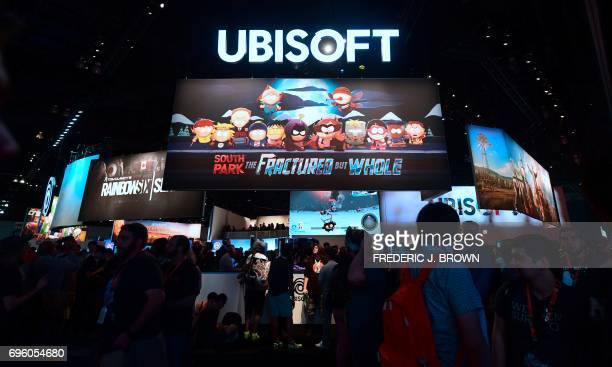 People crowd the Ubisoft games display section on day two of E3 2017 the three day Electronic Entertainment Expo at the Los Angeles Convention Center...