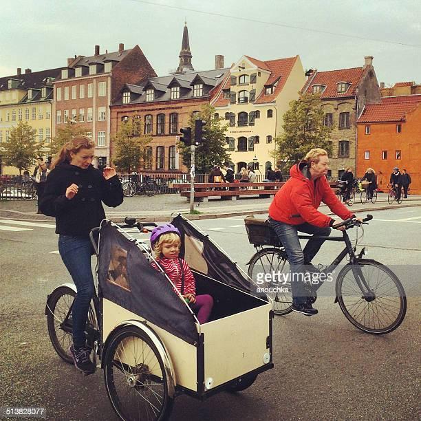 People cycling in Copenhagen, Denmark