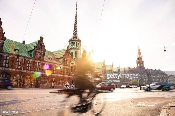 People cycling in Copenhagen