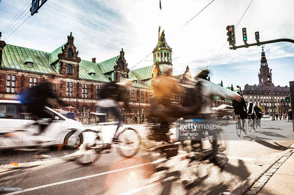 People cycling in Copenhagen : Stock Photo