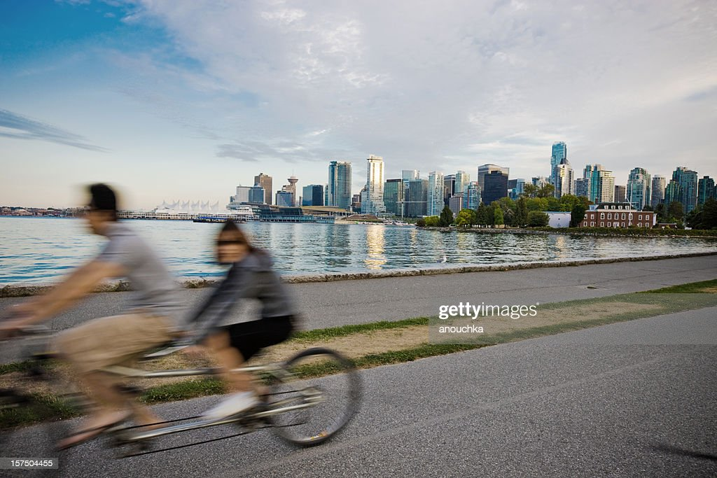 People Cycling in Vancouver : Stock Photo