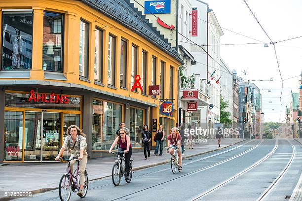 People cycling on Oslo street, Norway