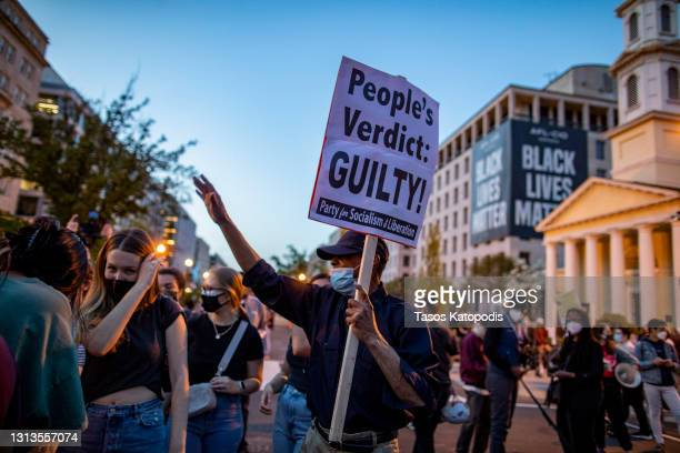 People dance and celebrate at Black Lives Matter Plaza near the White House on April 20, 2021 in Washington, DC. Former police officer Derek Chauvin...
