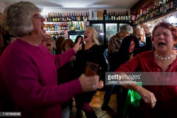 People dance at a Britishowned bar during a Brexit celebration party in Jimera de Libar Andalusia Spain on January 31 2020 European officials removed...