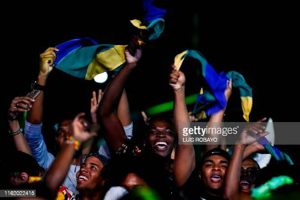 People dance during the 23rd Petronio Alvarez Pacific Music Festival in Cali Colombia on August 16 2019 The Petronio Alvarez Pacific Music Festival...