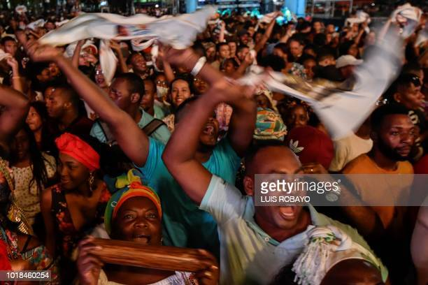 People dance during the XXII Petronio Alvarez Pacific Music Festival in Cali Colombia on August 17 2018 The Petronio Alvarez Pacific Music Festival...