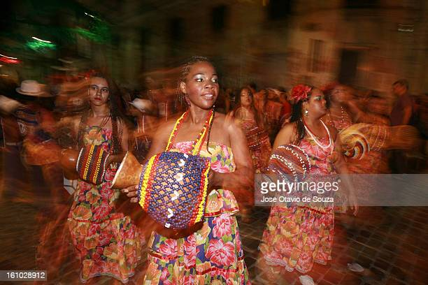 People dance in the streets during the carnival on February 08 2013 in Recife Brazil