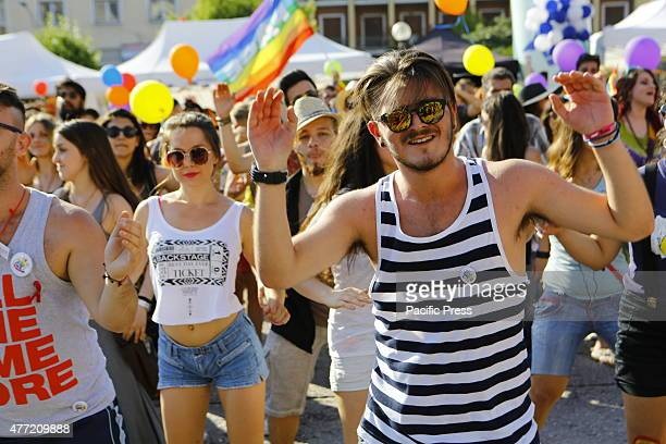 SQUARE ATHENS ATTICA GREECE People dance to the music ahead of the 10th Athens Gay Pride Parade 2015Several thousand people took part in Athens 10th...