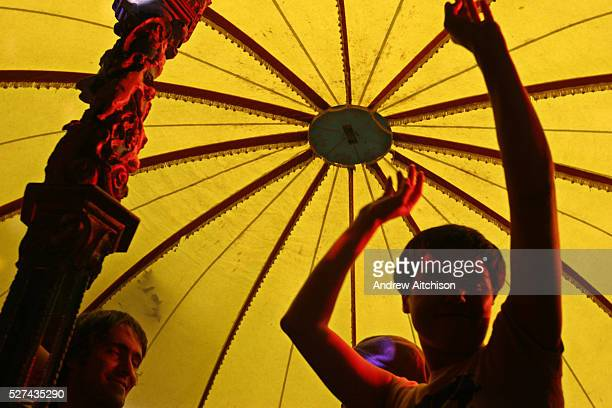 People dancing in one of the tents at the 2005 Lovebox festival held in Victoria Park London