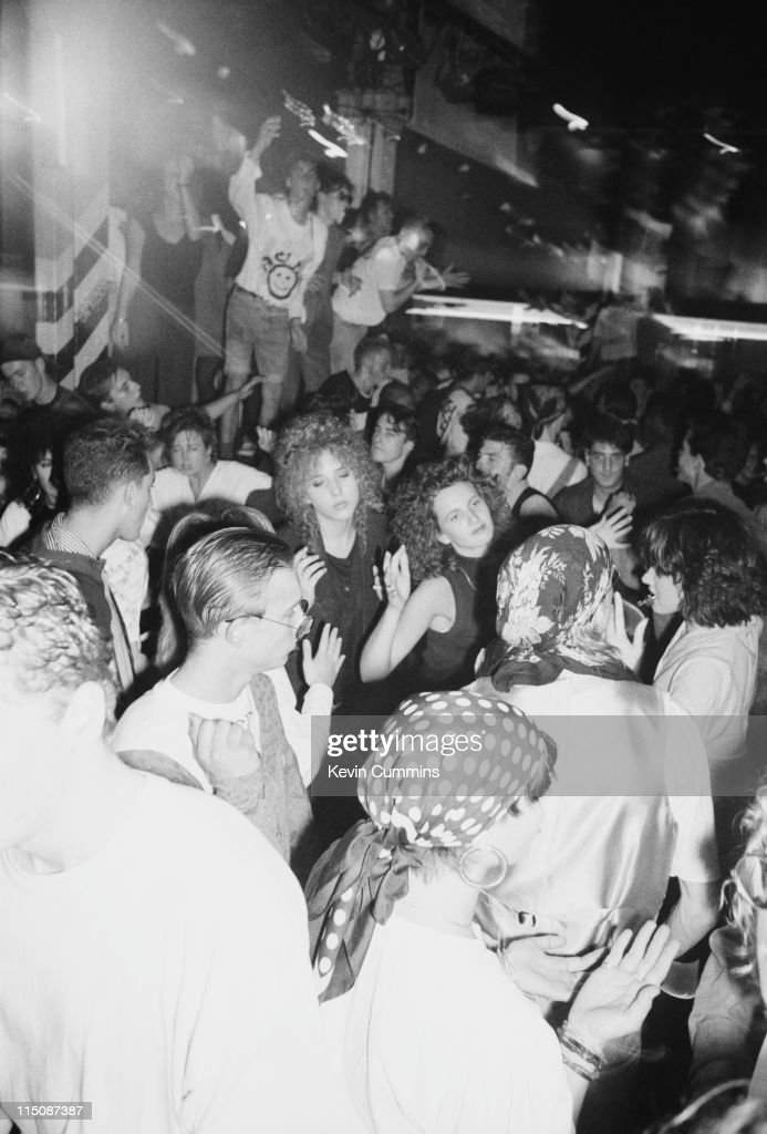 People dancing to acid house music at the Hacienda night club in Manchester, 5th October 1988.