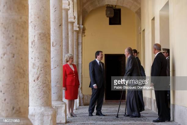 People Defender Soledad Becerril, Alcala University President Fernando Galvan Reula and King Juan Carlos of Spain attend 'Rey De Espana Human Rights...