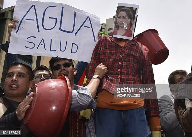 People demand Bolivian President Evo Morales to remove Environment and Water Minister Alexandra Moreira and find a solution to the water shortage...