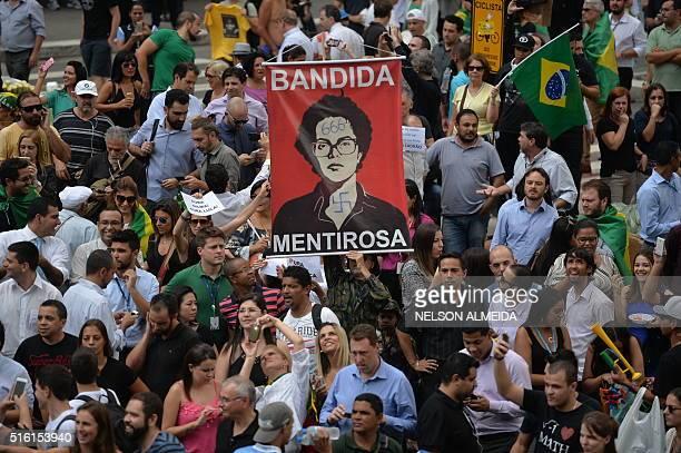 People demonstrate against Brazilian former president Luiz Inacio Lula da Silva in Sao Paulo downtown Brazil on March 17 2016 A federal judge in...