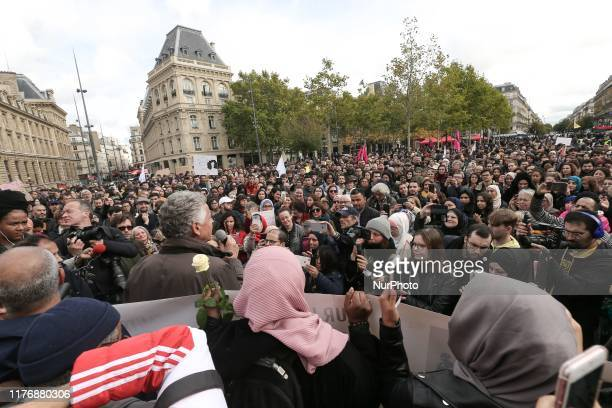 People demonstrate against Islamophobia on October 19, 2019 on the place de la Republique in Paris. A new row over secularism and the wearing of the...