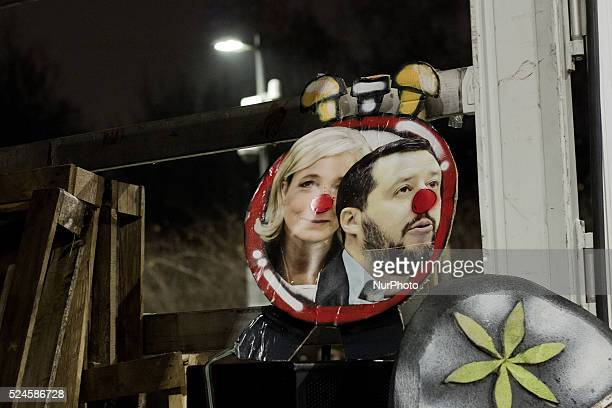 People demonstrate against political meeting between Matteo Salvini and Marine Le Pen took place at MiCo in Milan on 28th January The protest...
