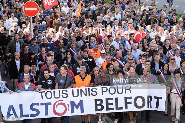 People demonstrate against the closure of the French power and transport engineering company Alstom factory in Belfort on September 24 2016 Alstom...