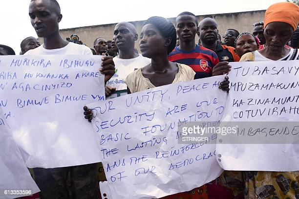 People demonstrate against the European Union the International Criminal Court and the Resolution against Burundi in Bujumbura on October 8 2016...