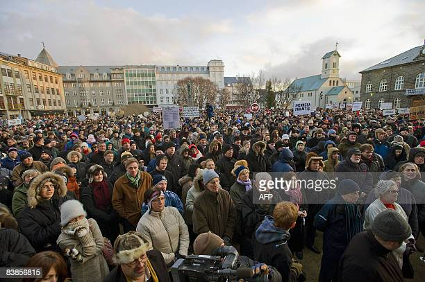 People demonstrate against the government on November 29 2008 in Reykjavik during a weekly protest over the global financial crisis which saw...