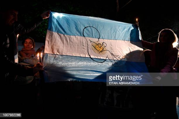 People demonstrate against the legalization of abortion in front of the presidential residence in Olivos Buenos Aires on July 30 2018 A controversial...