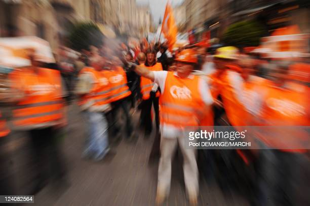 People demonstrate as part of a nationwide strike called by the two biggest unions CGT and CFDT in Nancy France on June 17th 2008 People demonstrate...
