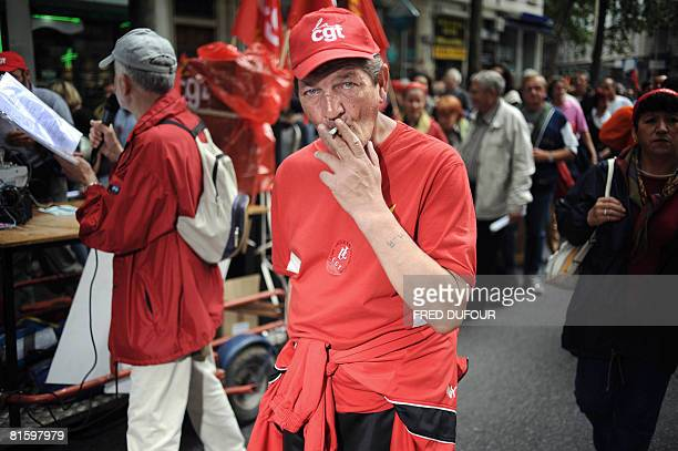 People demonstrate as part of a nationwide strike called by the two biggest unions CGT and CFDT on June 17 2008 in Lyon eastern France to show...