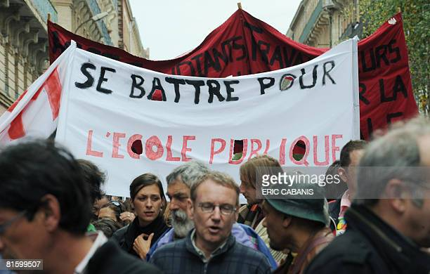 People demonstrate as part of a nationwide strike called by the two biggest unions CGT and CFDT on June 17 2008 in Toulouse southwestern France to...