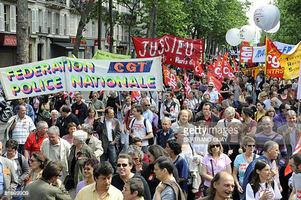 People demonstrate as part of a nationwide strike called by the two biggest unions CGT and CFDT on June 17 2008 near the Place de la Bastille in...