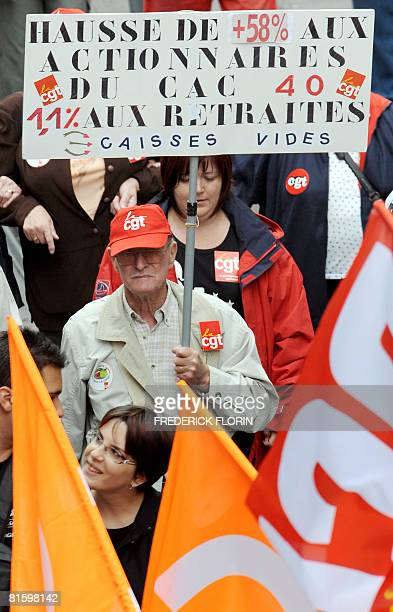 People demonstrate as part of a nationwide strike on June 17 2008 in Strasbourg eastern France to show opposition to pension reform after the...
