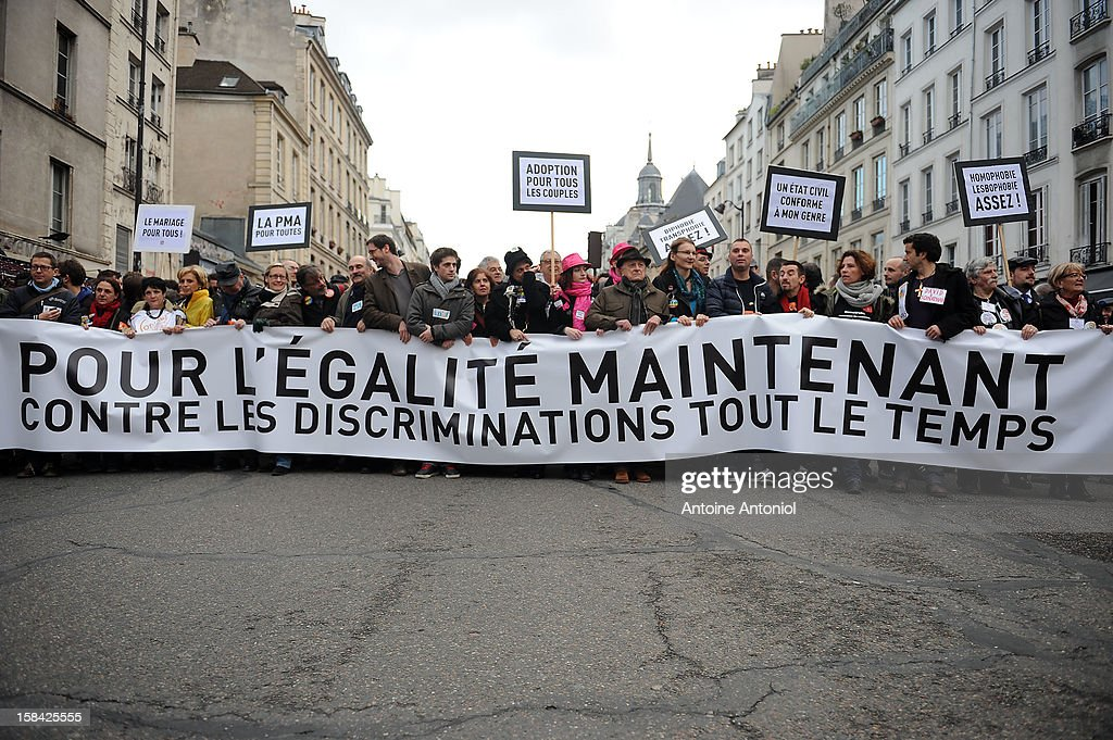 People demonstrate for the legalisation of gay marriage and parenting on December 16, 2012 in Paris, France. Demonstrations have shown a deep division in French society over the marriage equality bill expected to be passed in early 2013. The bill would not only legalize same-sex marriage but would also allow gay couples to adopt, which is seen as the most controversial issue. French President Francois Hollande, who has supported the legislation, is facing criticism from anti-gay and religious groups, while gay rights groups have warned of inadequacies within the bill.
