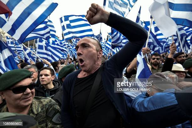 People demonstrate in Athens on January 20 against the agreement with Skopje to rename neighbouring country Macedonia as the Republic of North...
