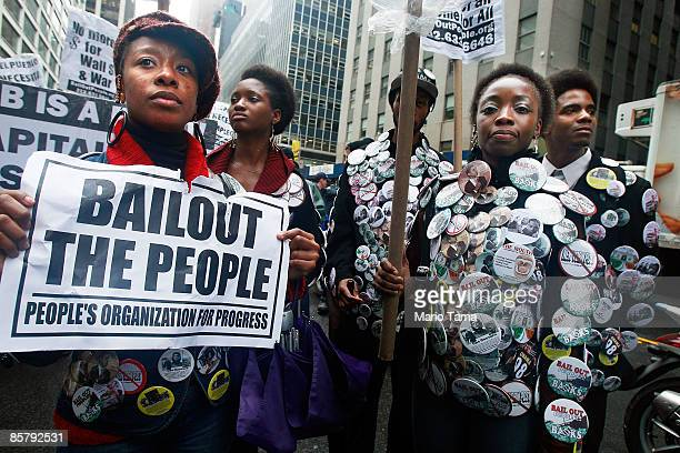 People demonstrate in the financial district April 3, 2009 in New York City. Hundreds of anti-capitalist protesters gathered in the financial...