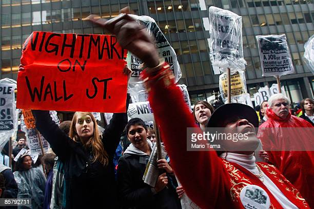 People demonstrate in the financial district April 3 2009 in New York City Hundreds of anticapitalist protesters gathered in the financial district...