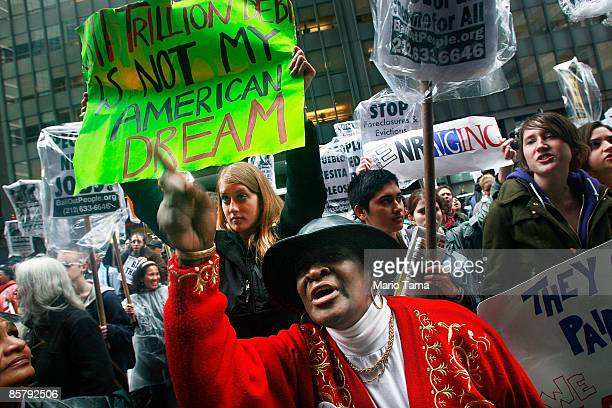 People demonstrate in the financial district in front of AIG headquarters April 3 2009 in New York City Hundreds of anticapitalist protesters...