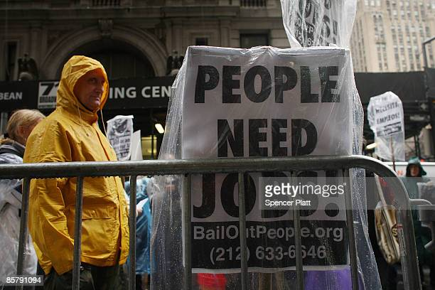 People demonstrate in the financial district on April 3 2009 in New York New York Dozens of anticapitalist protesters gathered in the financial...