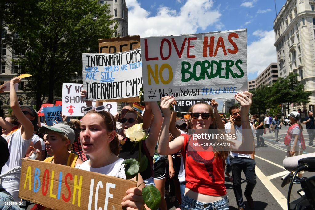US-POLITICS-IMMIGRATION-MIGRANTS-PROTEST : News Photo