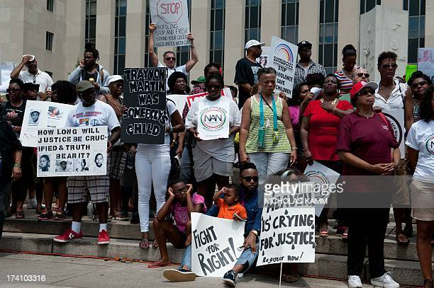 People demonstrate in Washington on July 20 one week after the acquittal of George Zimmerman Civil rights groups mobilized for protests in cities...