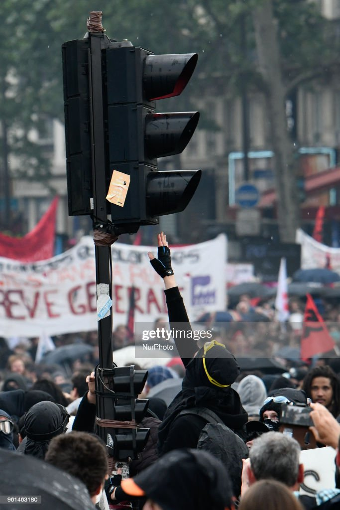 Clashes At Public Service Demonstration In Paris