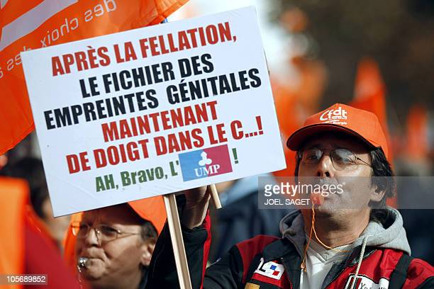 People demonstrate on October 19 2010 in Paris against the governmental pension reform France faces a sixth day of national protests against...