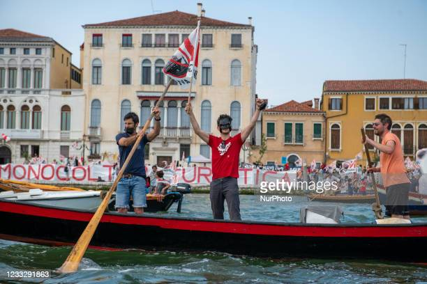 People demonstrating on boats against the passage of the big ships in Venice, in Venice, Italy, on June 5, 2021. Locals demonstrated today against...