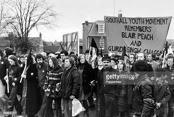 29th April 1979 London An anti National Front demo in London on the streets of Southall protesting against the National Front being active in the...