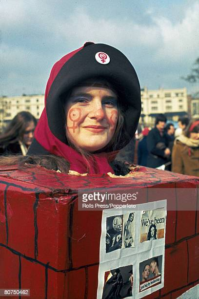 7th March 1971 London Women's Liberation A Women's Lib parade in central London showing one of the marchers