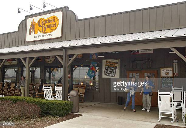 People depart a Cracker Barrel Old Country Store restaurant April 12 2002 in Naperville IL The NAACP has joined the racial discrimination lawsuit...