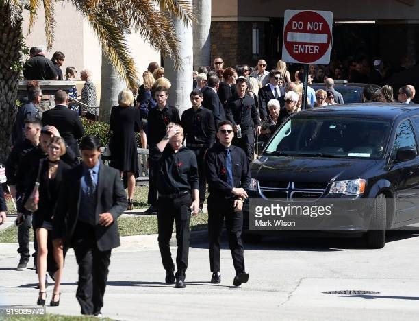 People depart from a funeral service for 16 yearold student Meadow Pollack at the Jewish congregation Kol Tikvah on February 16 2018 in Parkland...