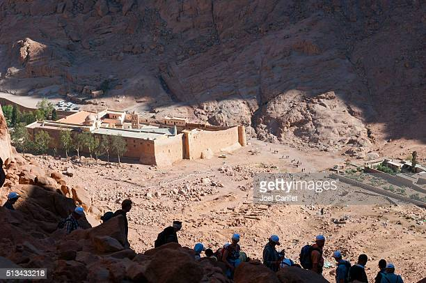 People descending Mount Sinai in Egypt