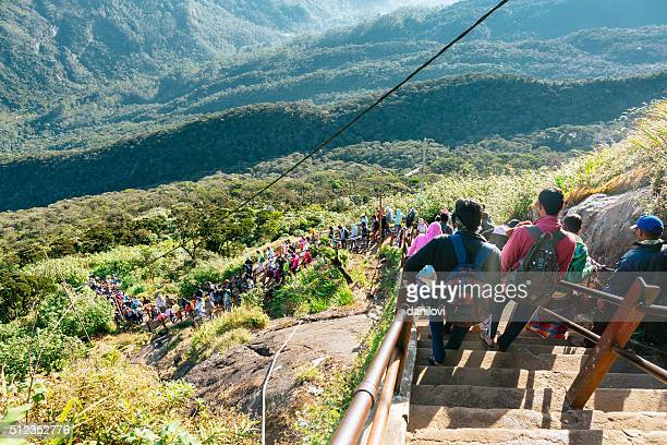 People descending the Adam's peak, Sri Lanka