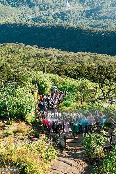 People descending the Adam's peak, Sri Lanka