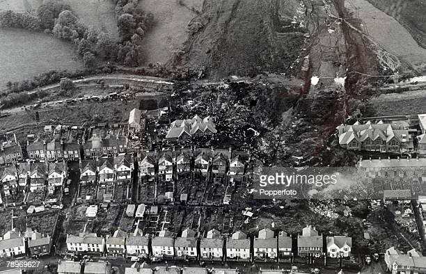 People Disasters Industry Aberfan South Wales pic 21st October 1966 An aerial view of the destruction at Aberfan after coal pit waste undermined by...