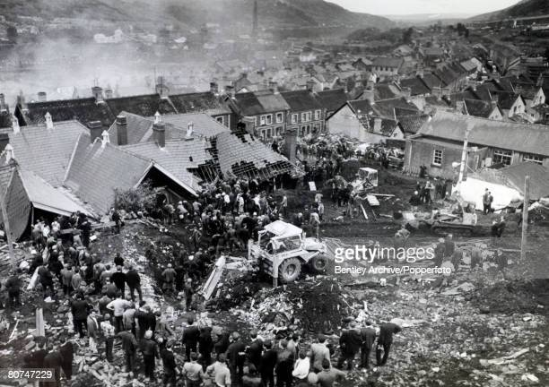 People Disasters Industry Aberfan South Wales piccirca 22nd October 1966 A scene of devastation at Aberfan after the landslide which had destroyed...
